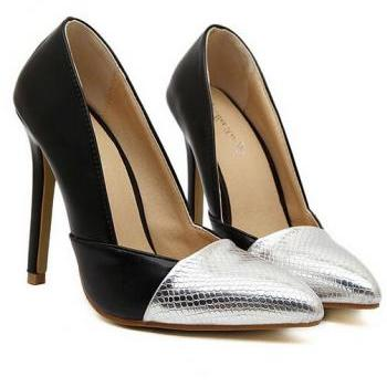 Stylish Black And Silver Pointed Toe High Heel Shoes
