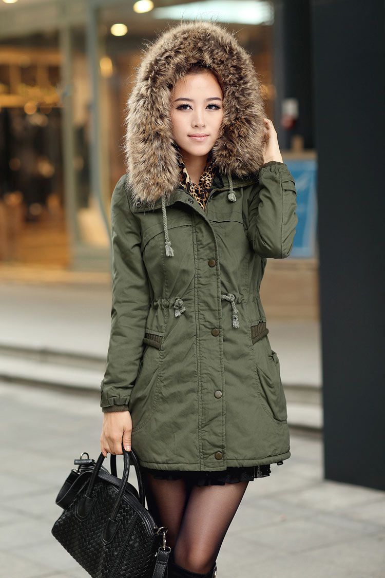 Green Womens Winter Coats Faux Fur Lining Parka With Fur Hood on ...