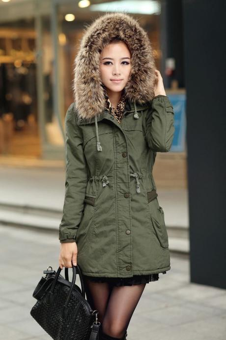 Green Womens Winter Coats Faux Fur Lining Parka With Fur Hood